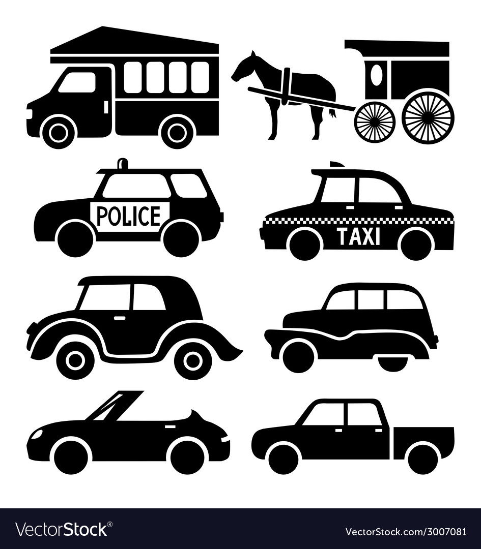 Car icons set black auto pictogram collection vector | Price: 1 Credit (USD $1)
