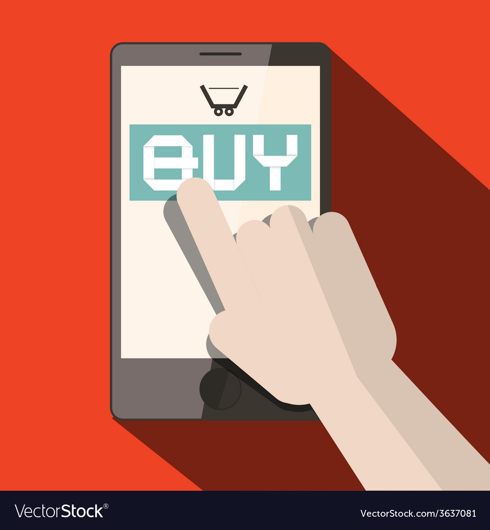 Cell phone with buy title and cart with hand vector | Price: 1 Credit (USD $1)