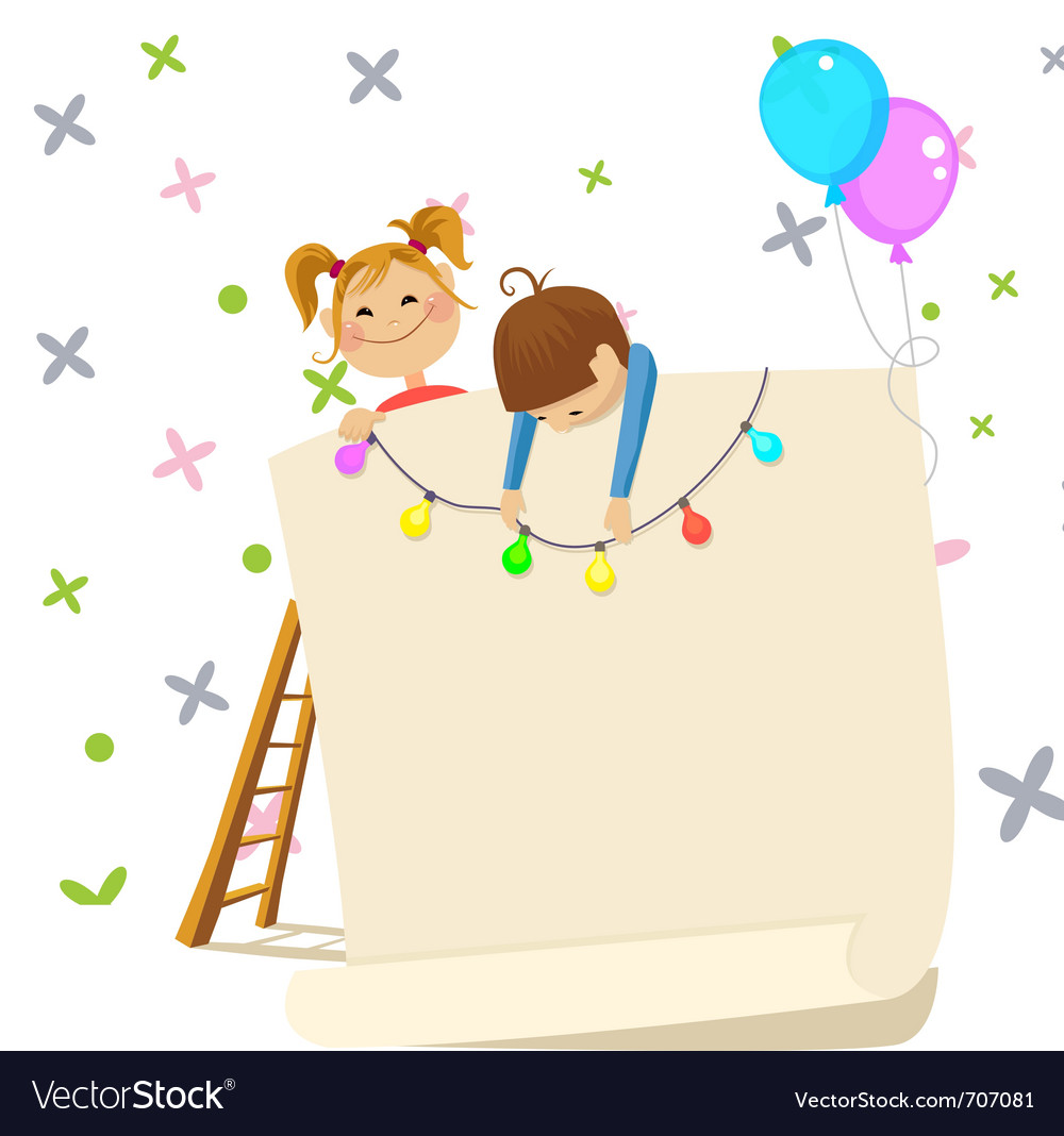 Children party invitation contains transparency vector | Price: 1 Credit (USD $1)