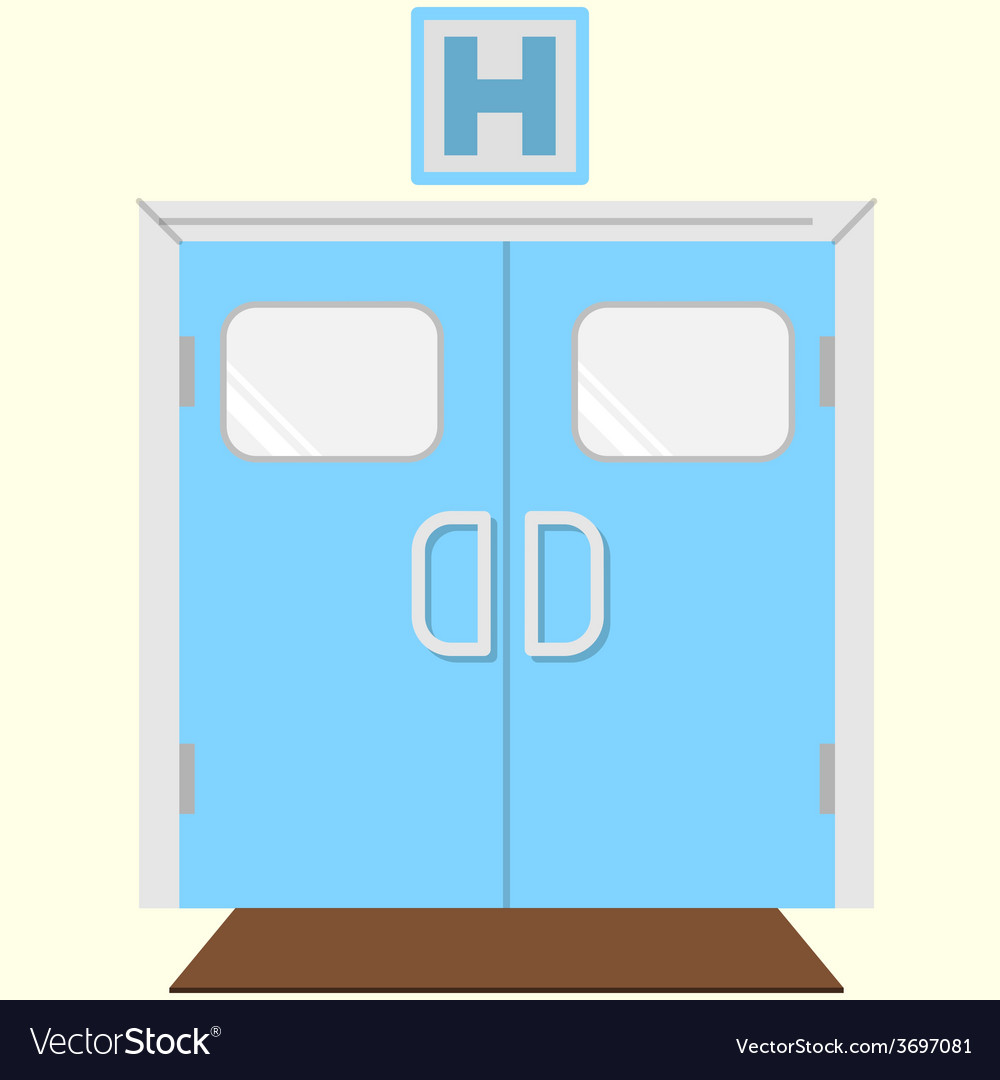 Flat color icon for hospital entrance vector | Price: 1 Credit (USD $1)
