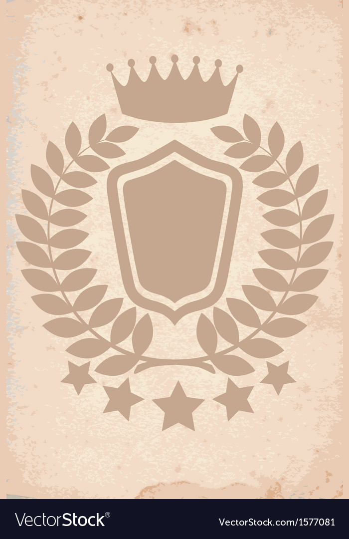 Old paper texture with heraldic emblem vector | Price: 1 Credit (USD $1)