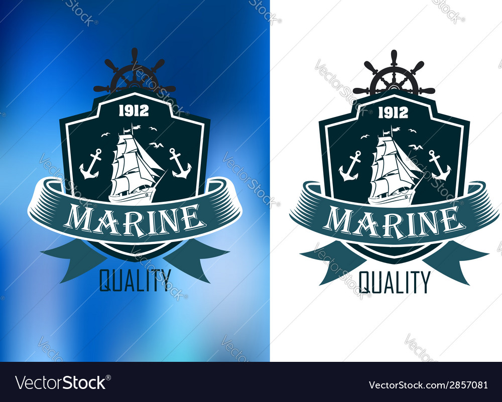 Retro marine heraldic banner vector | Price: 1 Credit (USD $1)