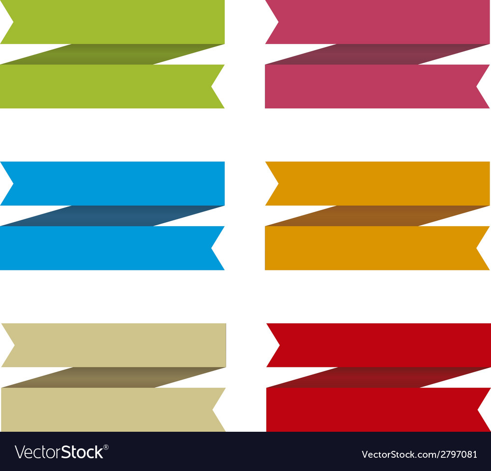 Ribbons set for text differents colors vector | Price: 1 Credit (USD $1)