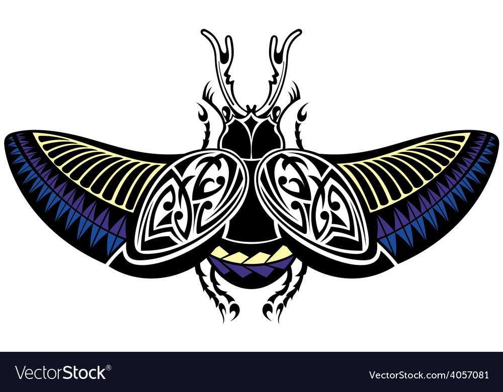 Scarab beetle tattoo style vector | Price: 1 Credit (USD $1)