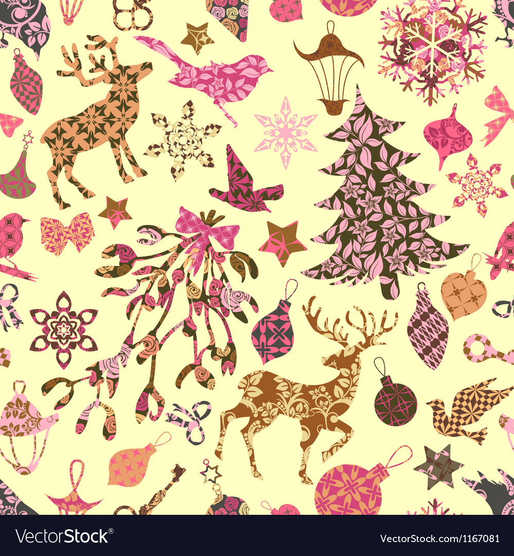 Seamless pattern with christmas patch silhouettes vector | Price: 1 Credit (USD $1)