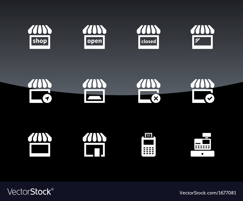 Shop icons on black background vector | Price: 1 Credit (USD $1)