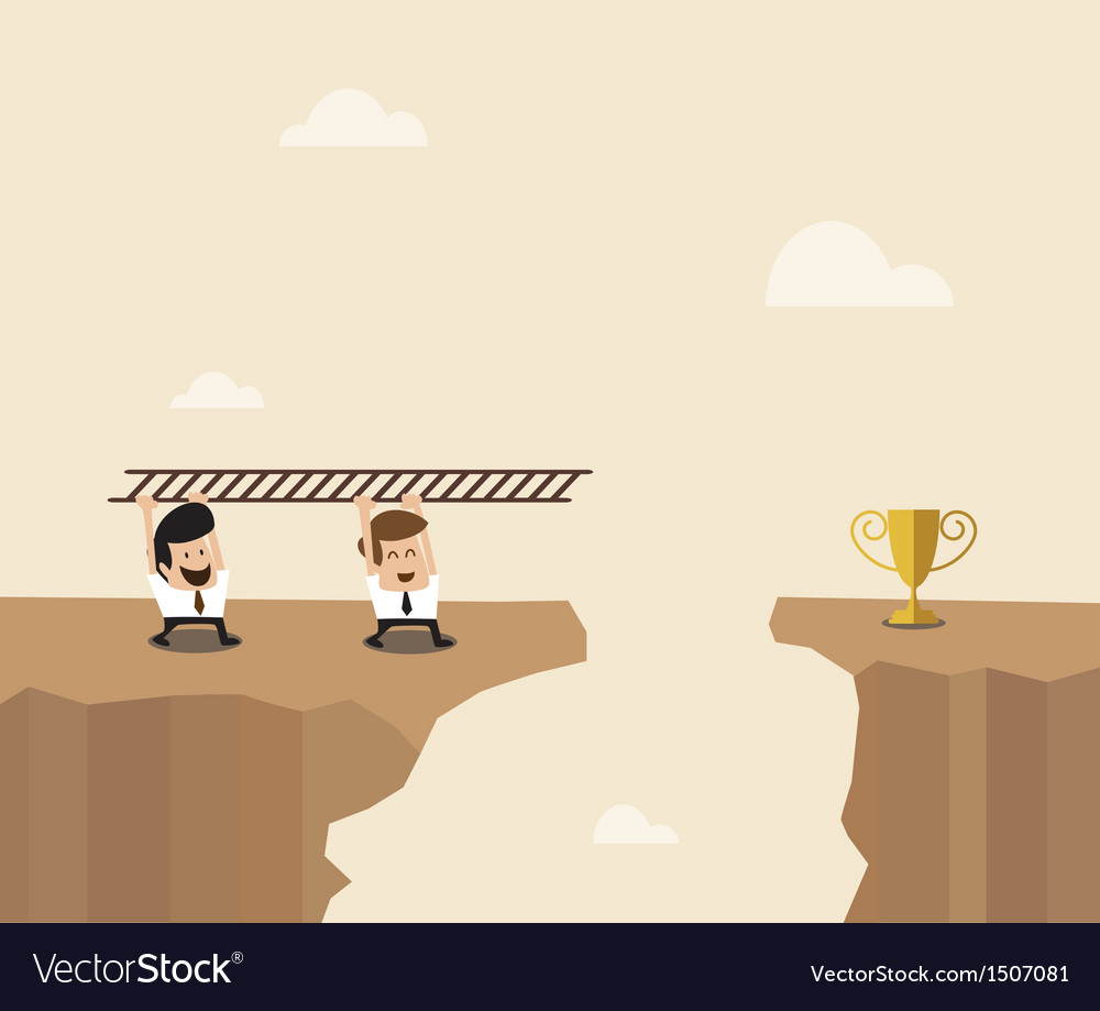 Two businessman carry ladder to cross the space vector | Price: 1 Credit (USD $1)