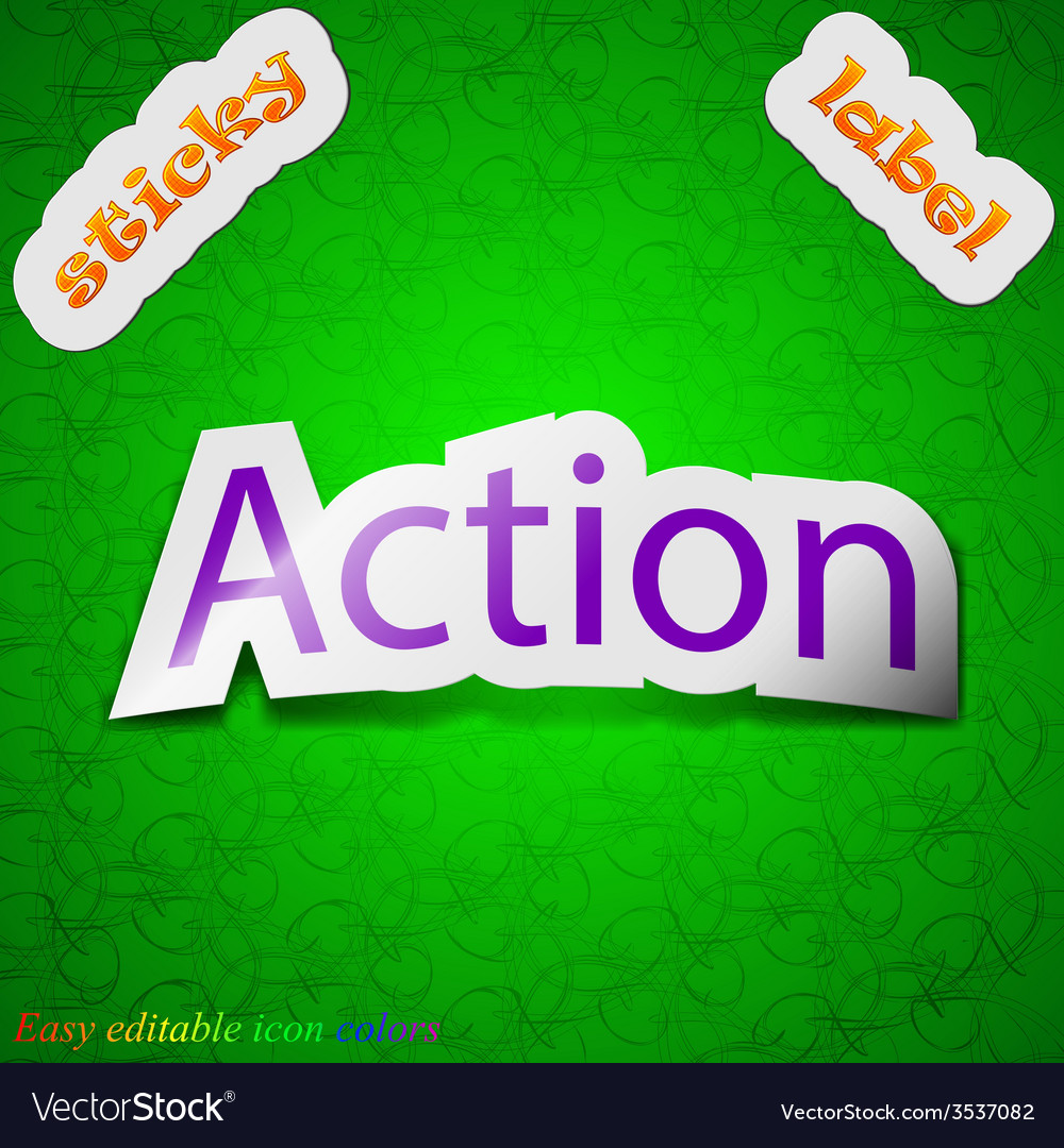 Action icon sign symbol chic colored sticky label vector | Price: 1 Credit (USD $1)