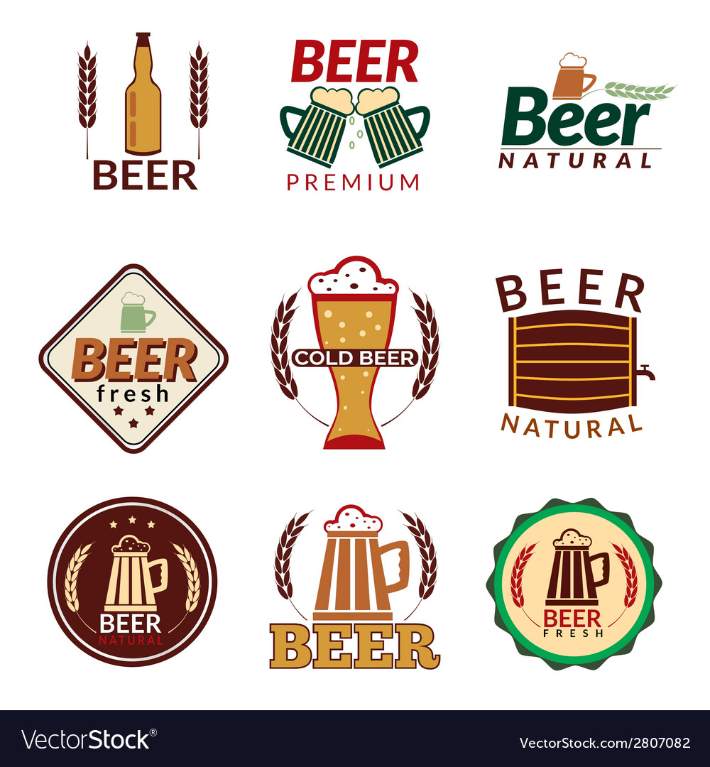 Beer colored emblems vector | Price: 1 Credit (USD $1)