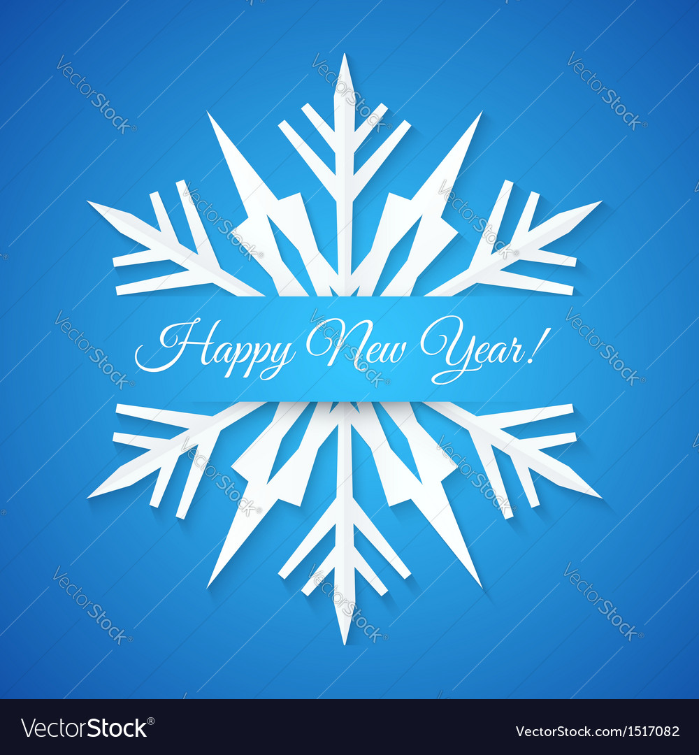 Blue paper snowflake postcard vector | Price: 1 Credit (USD $1)