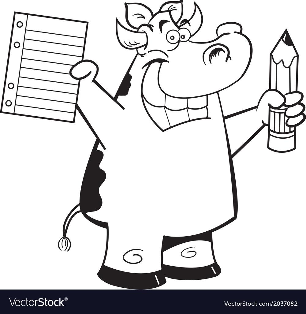 Cartoon cow student vector | Price: 1 Credit (USD $1)