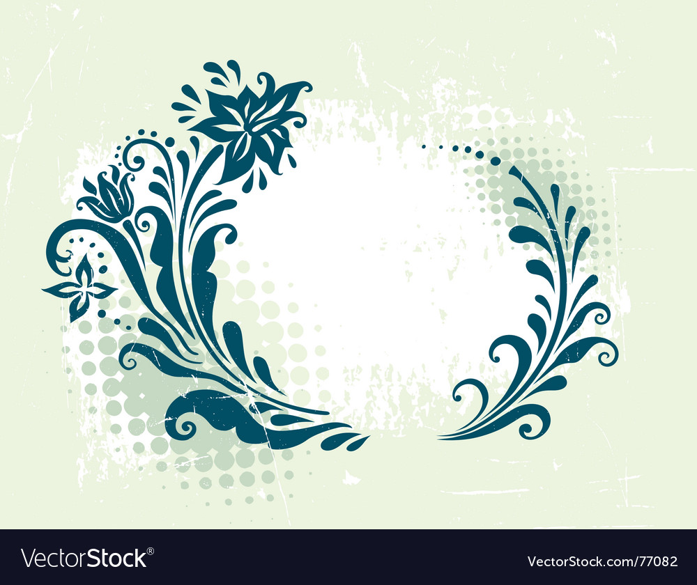 Circle decorative grunge floral frame vector | Price: 1 Credit (USD $1)