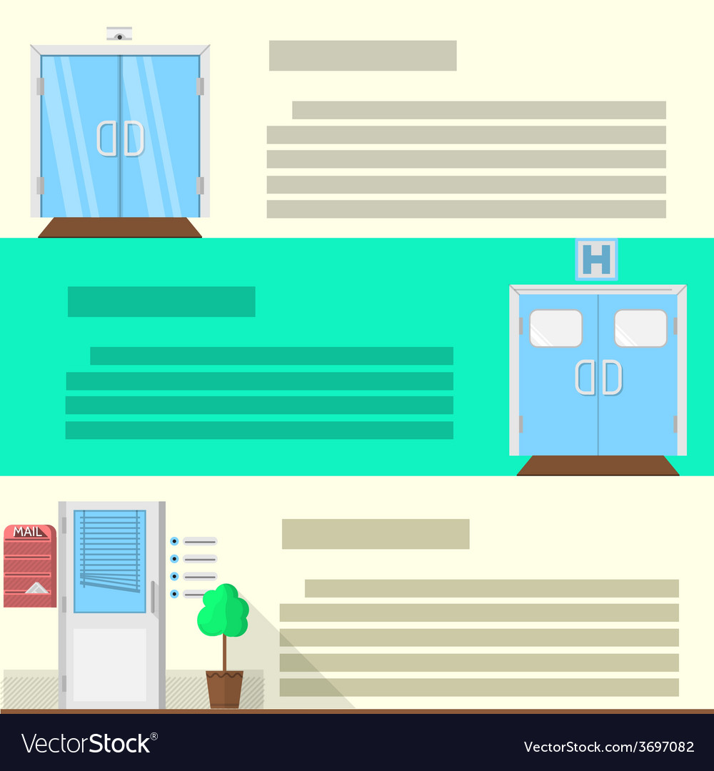 Flat color icons set for doors vector   Price: 1 Credit (USD $1)