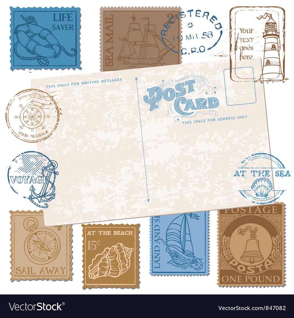 Postcard with retro sea stamps vector | Price: 1 Credit (USD $1)