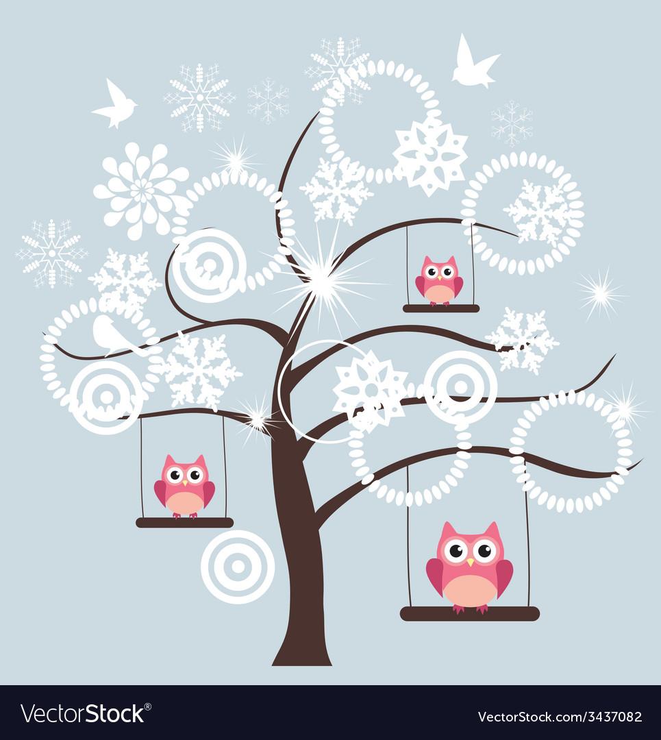 Tree snow owl vector | Price: 1 Credit (USD $1)