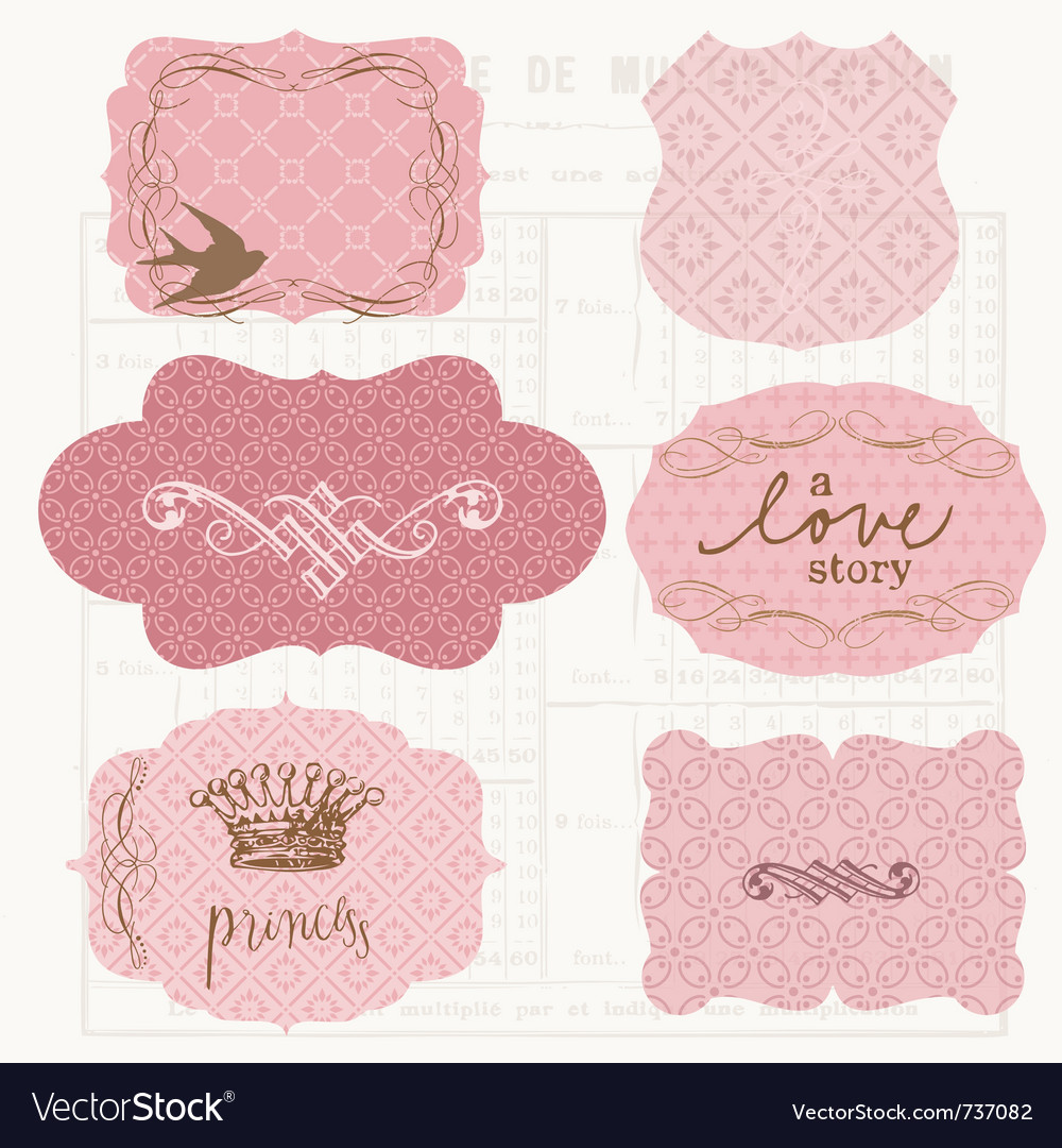 Vintage design elements for scrapbook - old tags a vector | Price: 1 Credit (USD $1)