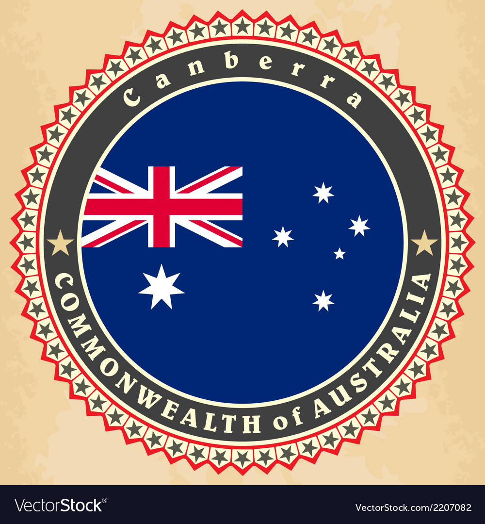 Vintage label cards of australia flag vector | Price: 1 Credit (USD $1)