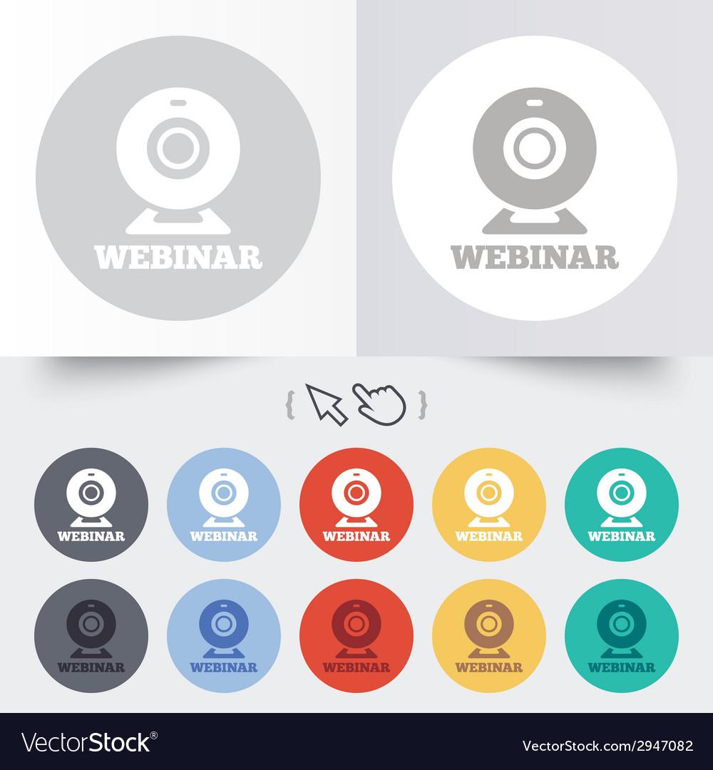 Webinar web camera sign icon online web study vector   Price: 1 Credit (USD $1)
