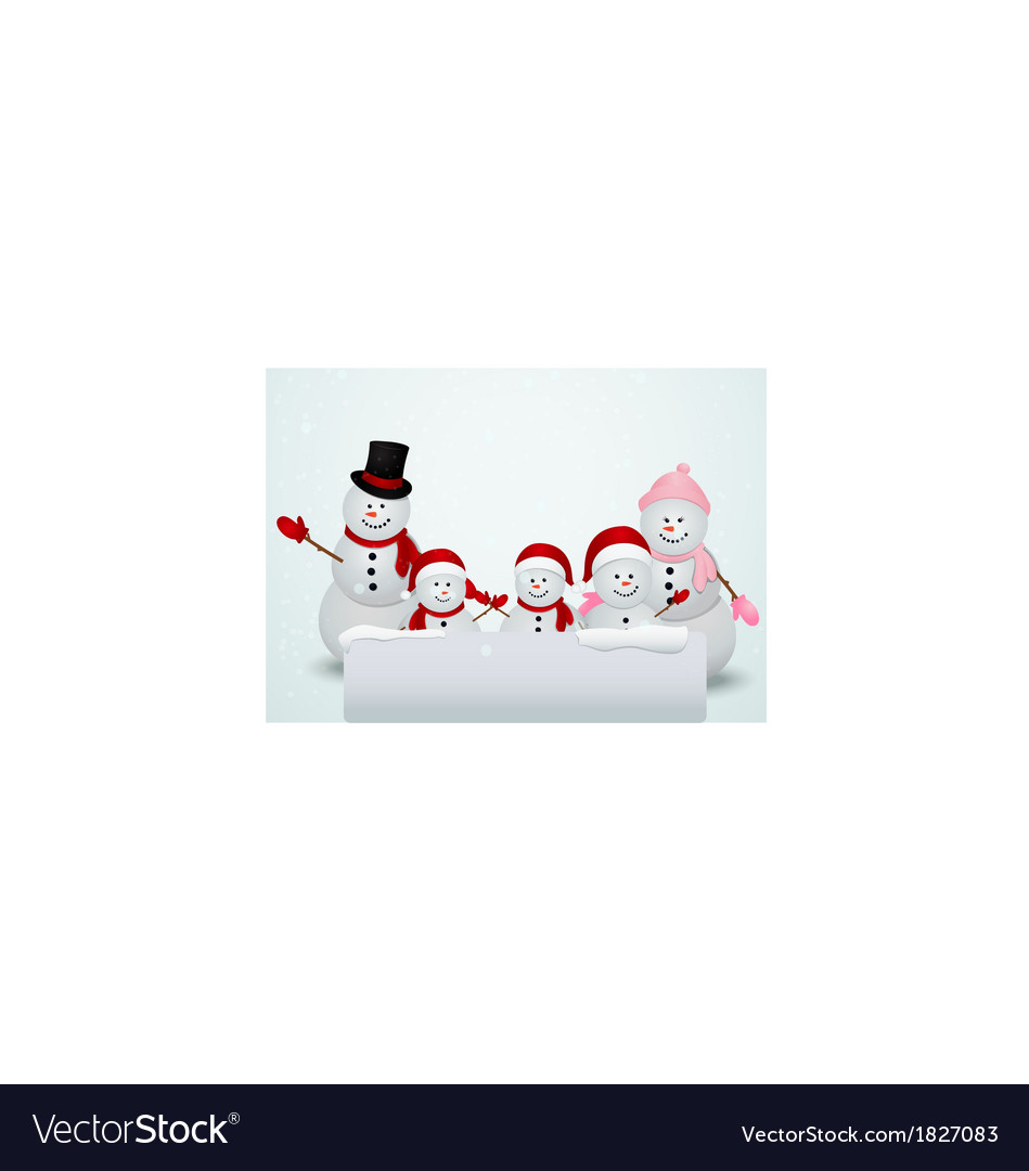 Christmas card with snowman and family vector | Price: 1 Credit (USD $1)