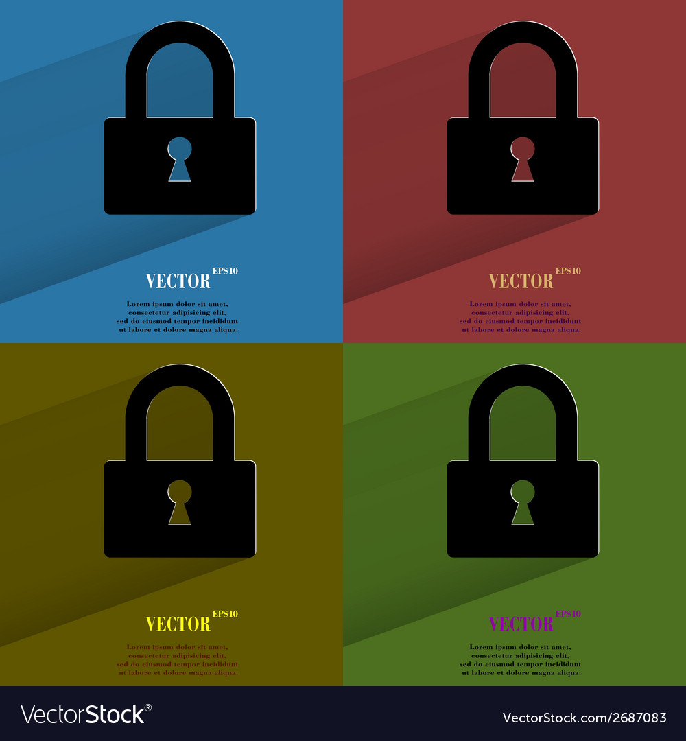 Color set padlock flat modern web button with long vector | Price: 1 Credit (USD $1)
