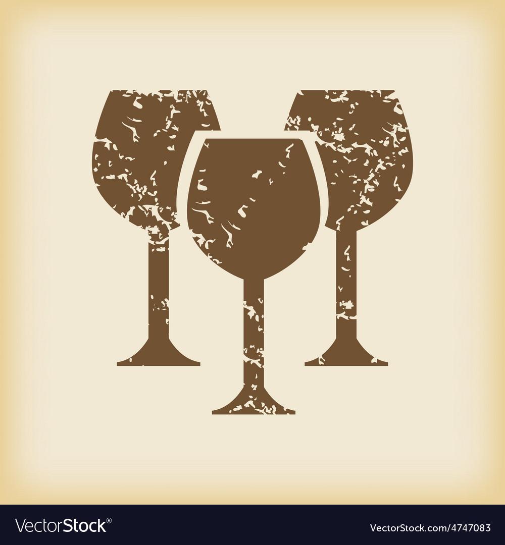 Grungy wine glass icon vector | Price: 1 Credit (USD $1)