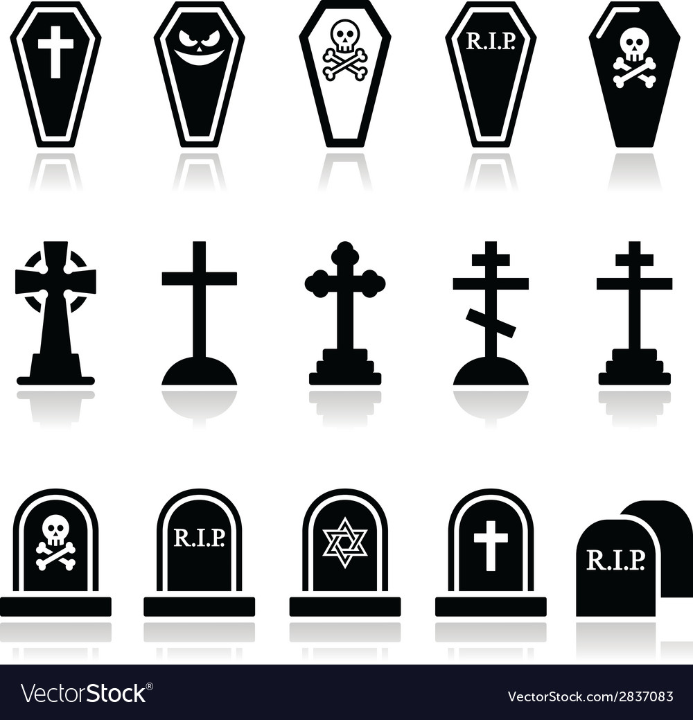 Halloween graveyard icons set - coffin cross gr vector | Price: 1 Credit (USD $1)