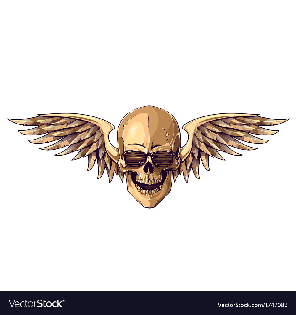 Hipster skull with wings vector | Price: 1 Credit (USD $1)