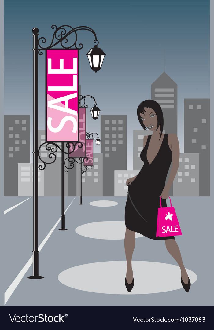Night shopping girl vector | Price: 1 Credit (USD $1)