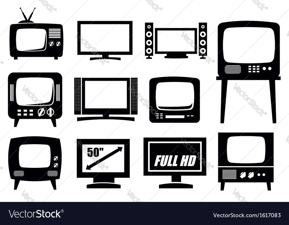Retro and modern tv icons vector | Price: 1 Credit (USD $1)