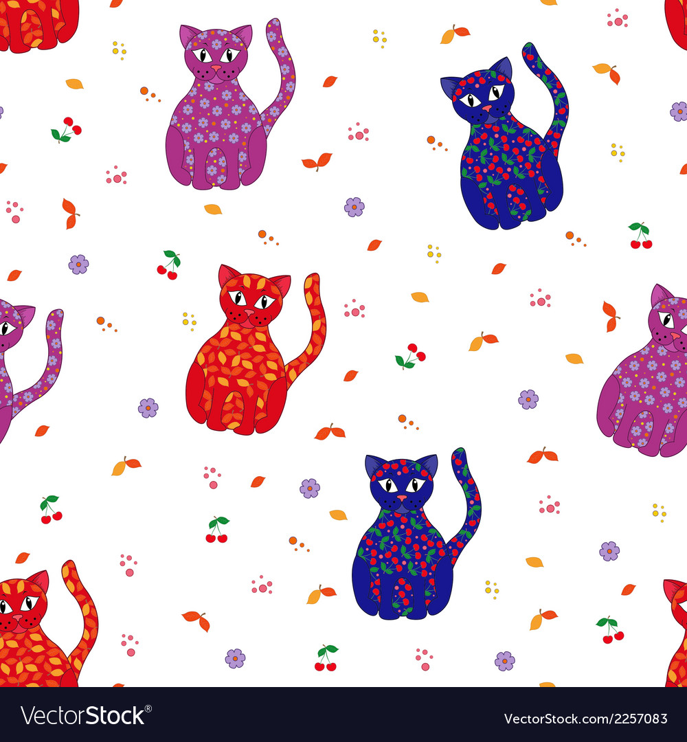 Seamless with various stylized cats vector | Price: 1 Credit (USD $1)