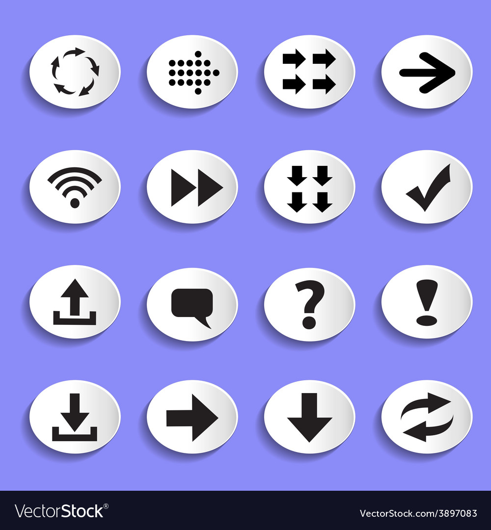 Set of arrows on buttons vector | Price: 1 Credit (USD $1)