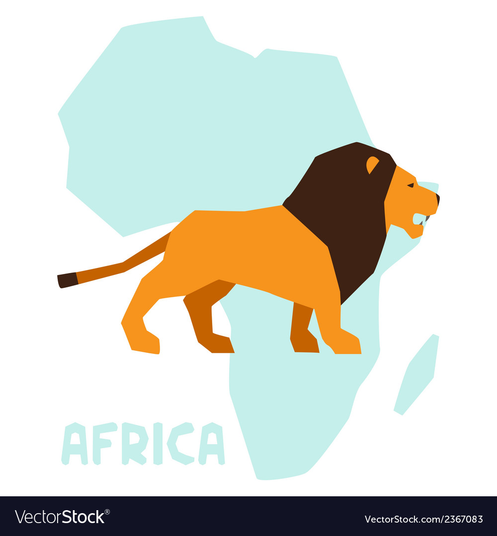 Simple of lion on background africa map vector | Price: 1 Credit (USD $1)