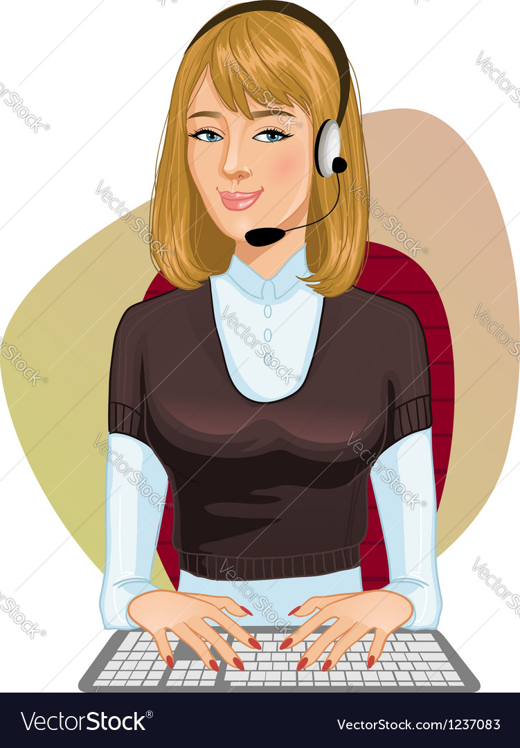 Young girl a call operator vector | Price: 3 Credit (USD $3)