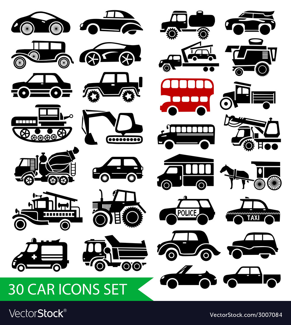 30 car icons set black auto web pictogram vector | Price: 1 Credit (USD $1)