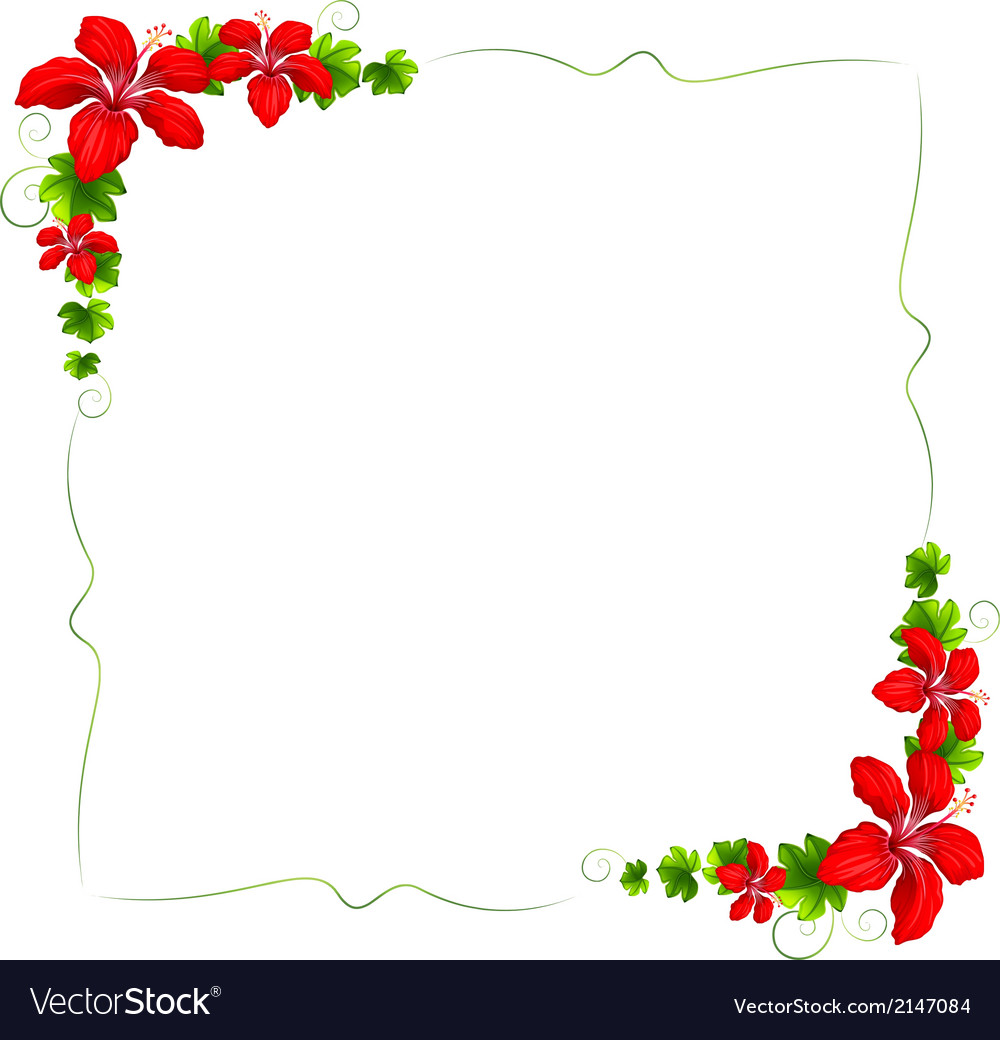 A floral border with red flowers vector | Price: 1 Credit (USD $1)