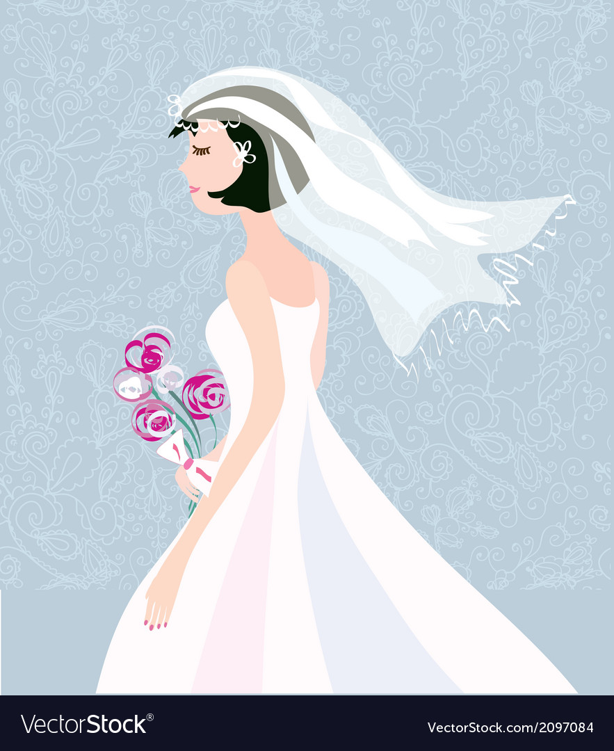 Bride card background with pattern cute design vector | Price: 1 Credit (USD $1)