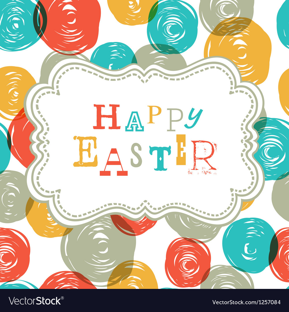 Colorful happy easter card design vector | Price: 1 Credit (USD $1)