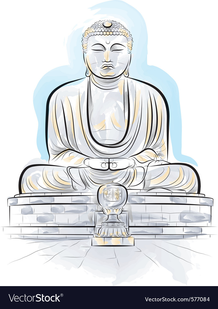 Drawing giant buddha vector | Price: 1 Credit (USD $1)