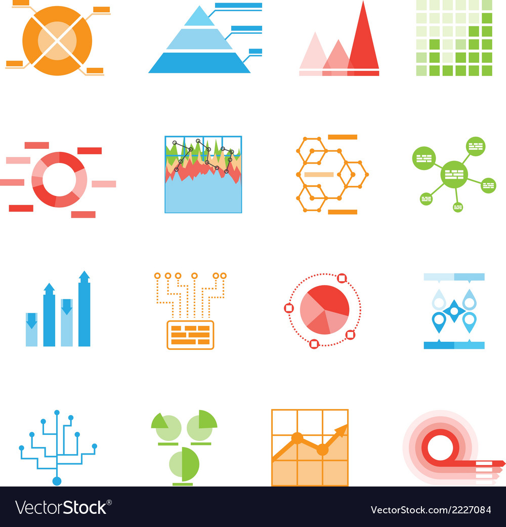 Graphs and charts icons or infographic elements vector | Price: 1 Credit (USD $1)