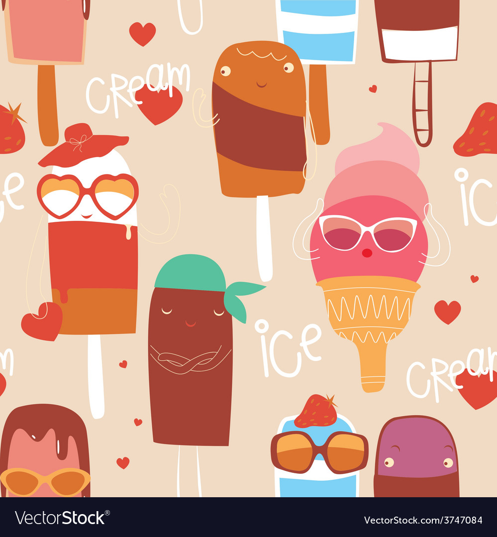 Ice cream fashion seamless print vector | Price: 1 Credit (USD $1)