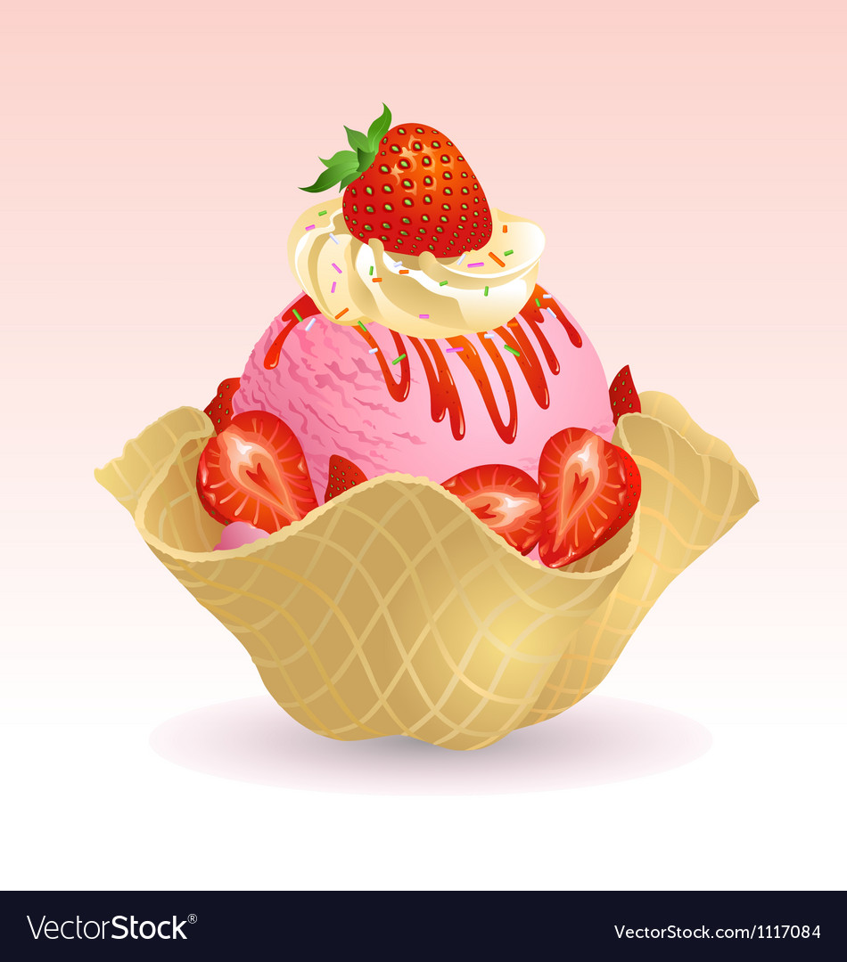 Ice cream strawberry vector | Price: 1 Credit (USD $1)