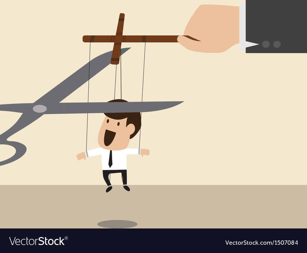 Marionette of businessman is released from rope vector | Price: 1 Credit (USD $1)