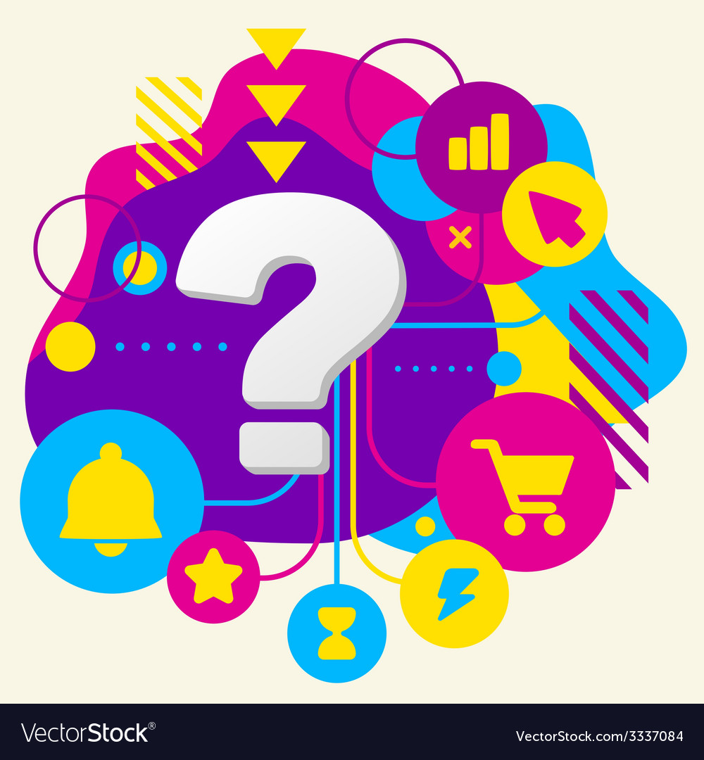 Question mark on abstract colorful spotted vector | Price: 3 Credit (USD $3)