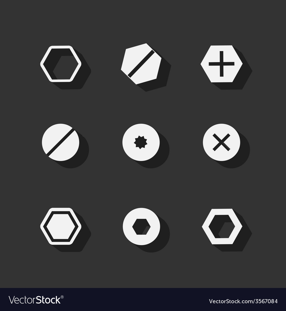 Screw bolt flat icons vector | Price: 1 Credit (USD $1)