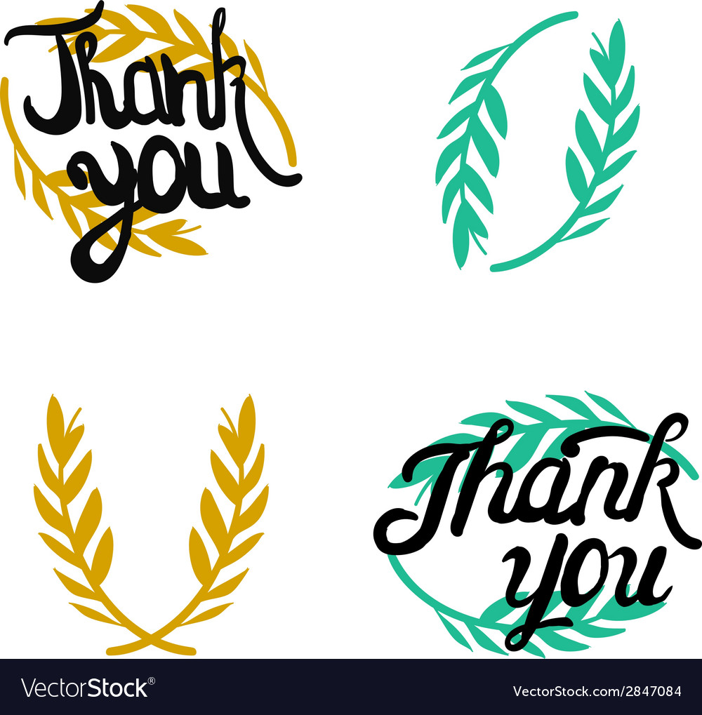 Thank you hand lettered signs with olive branch vector | Price: 1 Credit (USD $1)