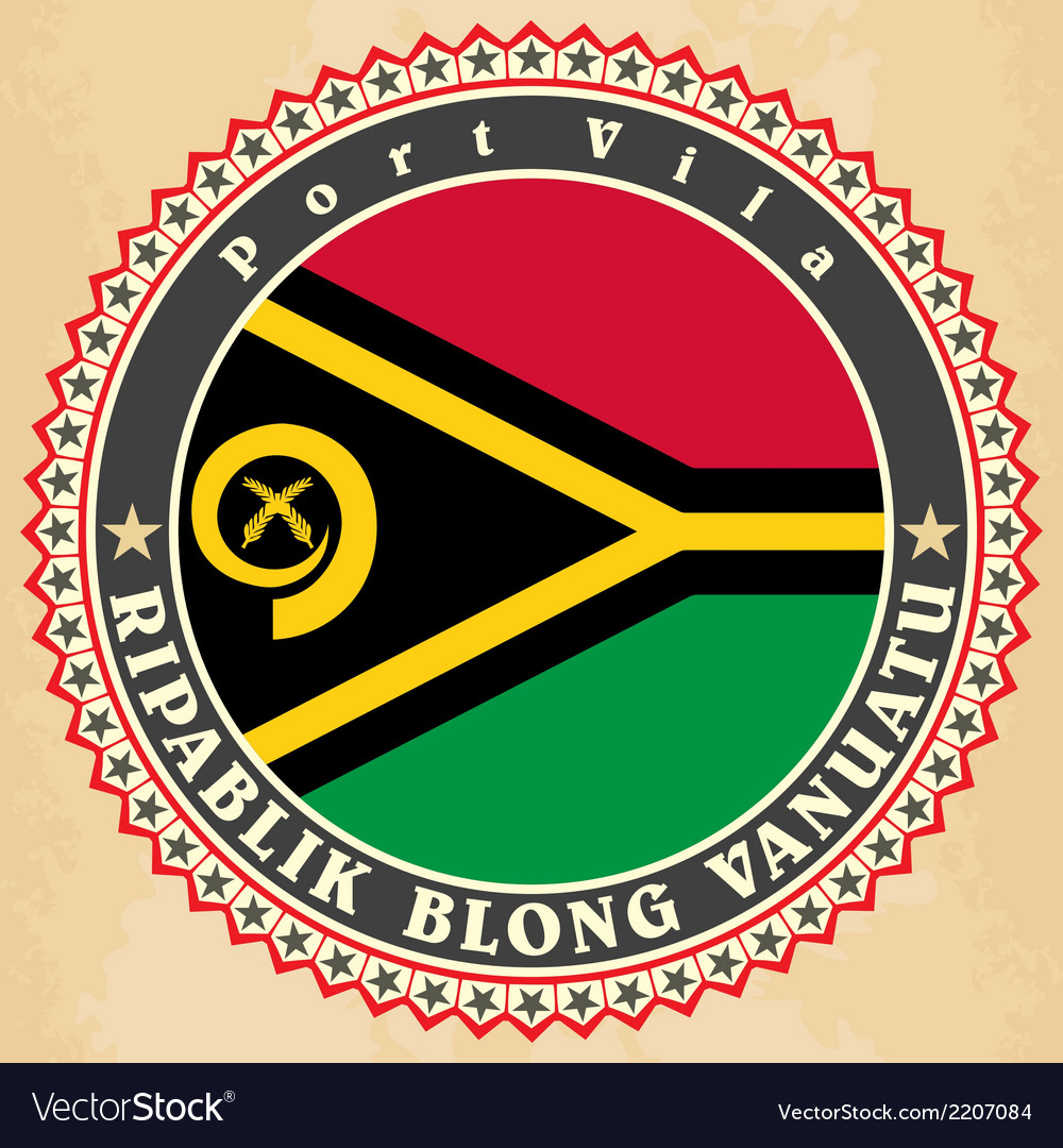 Vintage label cards of vanuatu flag vector | Price: 1 Credit (USD $1)