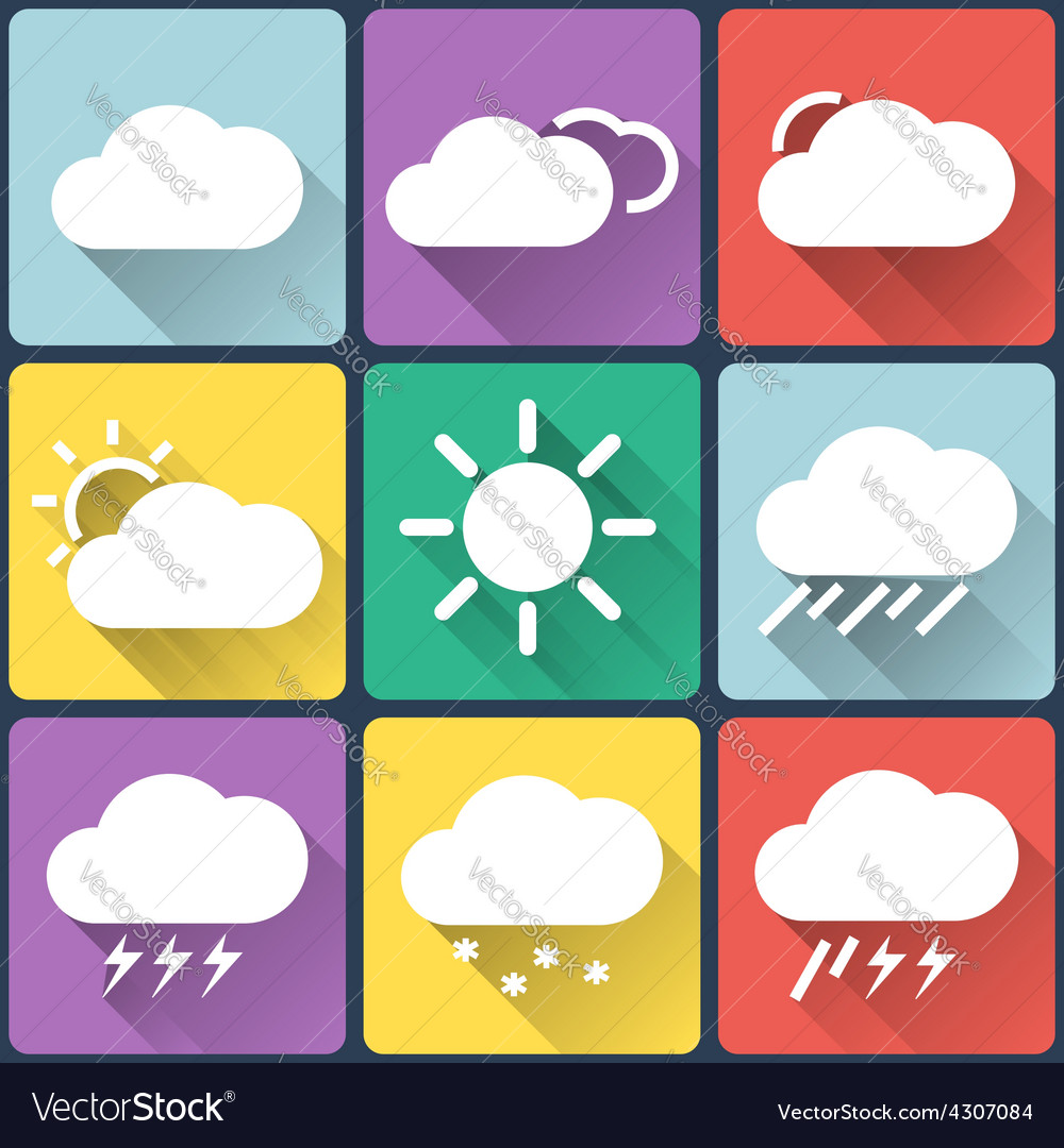 Weather flat icons set on multicolor background vector | Price: 1 Credit (USD $1)