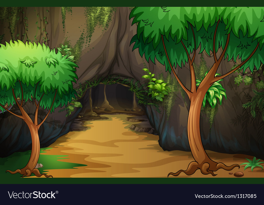 A cave at the forest vector | Price: 1 Credit (USD $1)