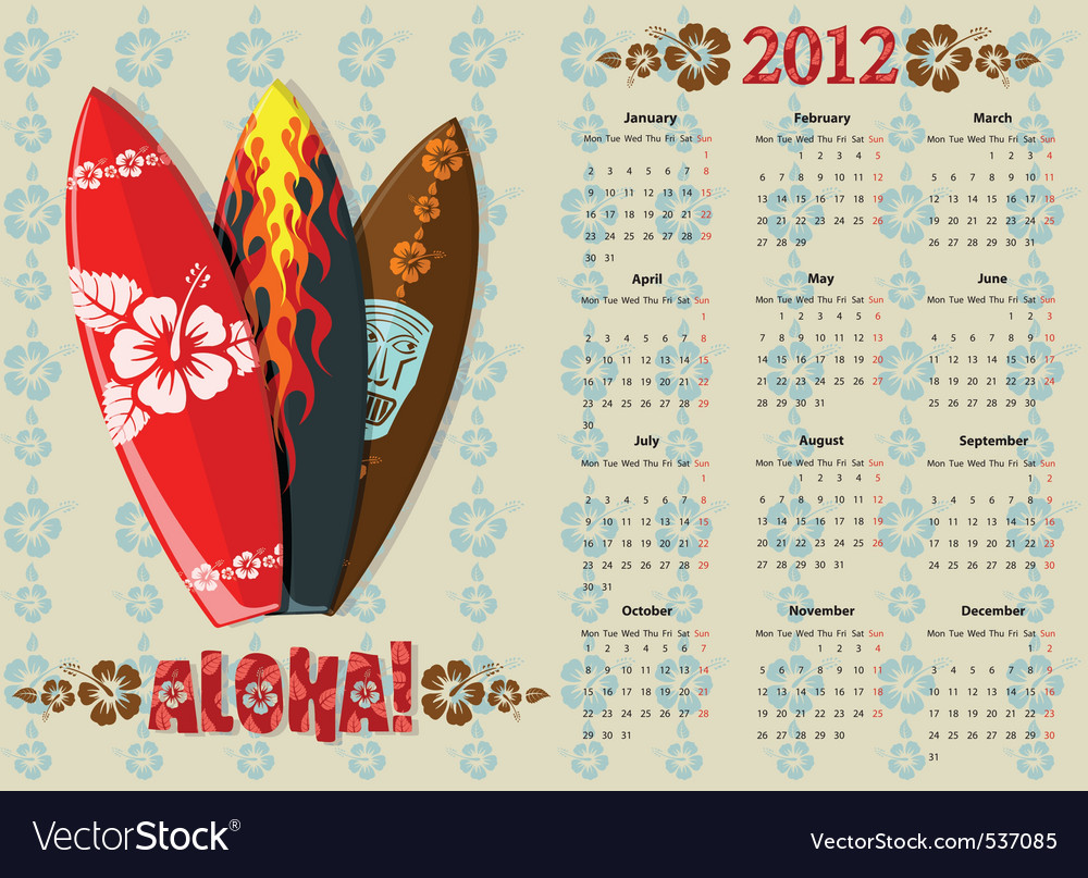 An aloha vector calendar 2012 with surf boar vector | Price: 1 Credit (USD $1)