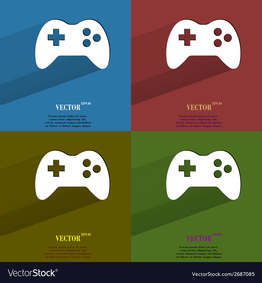 Color set gaming joystick flat modern web button vector   Price: 1 Credit (USD $1)